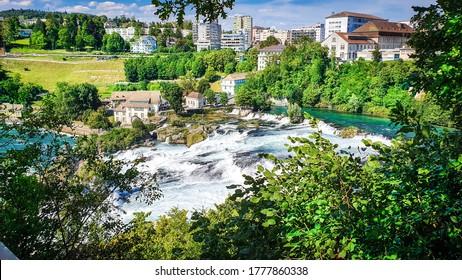 Amazing Rhine Falls-Schaffhausen Rheinfall,Most popular tourist spot near Schaffhausen, Switzerland