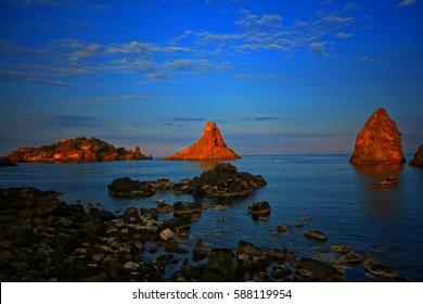 Amazing Riviera of the Cyclops (Riviera dei Ciclopi)at sunset, Catania, Sicily, Italy