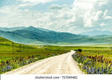 Amazing road to the mountains. Flowering meadows along the way. Misty in the mountains.  Kyrgyzstan.