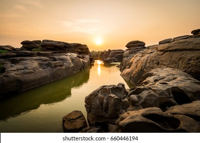 Amazing of rocks, Natural of rock canyon in mekhong river in summer, Hat Chom Dao, Ubon Ratchathani province, North east Thailand