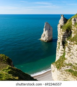 Amazing rocks on Etretat coastline, Normandy, France, Europe