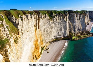 Amazing rocky coastline of Etretat, Normandy, France, Europe