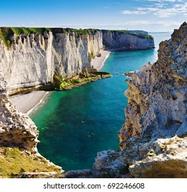 Amazing rocky coastline of  Etretat, Normandy, France, Europe.