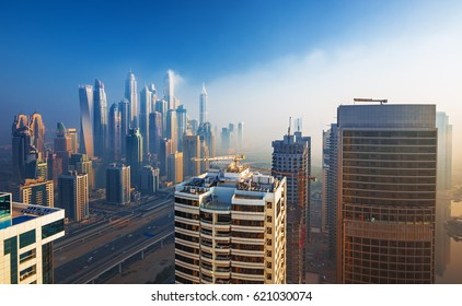 Amazing rooftop view on Dubai Marina skyscrapers and Sheikh Zayed road, Dubai,United Arab Emirates