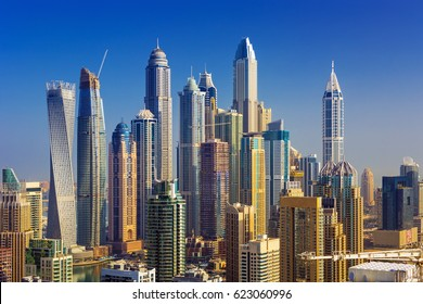 Amazing rooftop view on Dubai Marina skyscrapers, Dubai,United Arab Emirates
