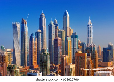 Amazing rooftop view on Dubai Marina skyline, Dubai,United Arab Emirates