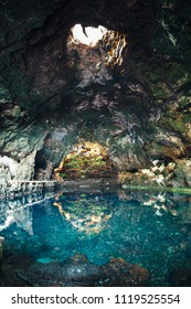Amazing salt lake in Jameos del Agua cave, Lanzarote, Canary Islands, Spain. Nature background. Travel destination