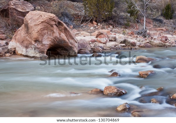 Amazing sandstone formations carved out by water in Zion's National Park, UT