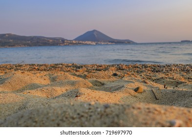 The amazing sandy beach of Yalova at sunset, located at Yalova village in Messenia, Peloponnese, Greece.