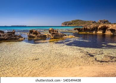 Amazing scenery of the Falassarna beach on Crete, Greece