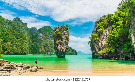 Amazing scenery natural landscape of James Bond island Phang-Nga bay, Water tours travel nature Phuket Thailand, Tourism beautiful destination famous place Asia, Summer holiday vacation travel trip