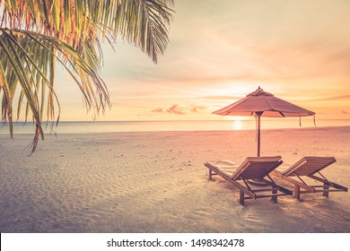 Amazing scenery, relaxing beach, tropical landscape background. Summer vacation travel holiday design. Luxury travel destination concept. Beach nature, travelling tourism landscape banner