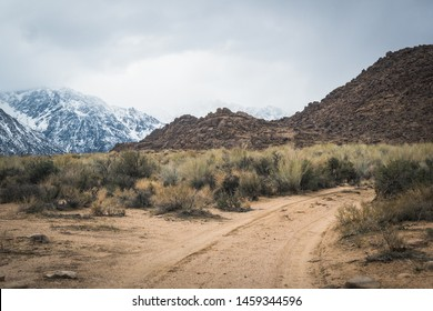 Amazing scenic road in Alabama Hills, with view of Sierra Nevada Mountains in California