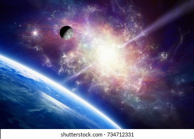 Amazing scientific background - blue planet Earth in space, Moon orbits around Earth, bright glowing spiral galaxy with quasar. Elements of this image furnished by NASA