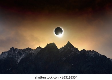 Amazing scientific background - total solar eclipse, mysterious natural phenomenon when Moon passes between planet Earth and Sun