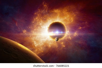 Amazing sci-fi background - supermassive extraterrestrial life form in outer space, dark red planet in twisted galaxy. Elements of this image furnished by NASA.