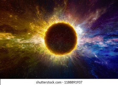 Amazing sci-fi background - supernatural extraterrestrial life form in deep outer space, another world.