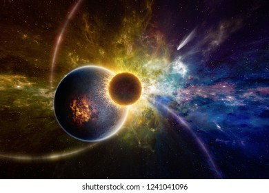 Amazing sci-fi background - supernatural extraterrestrial life form in deep outer space orbiting near exploding planet. Elements of this image furnished by NASA. Mixed media image.