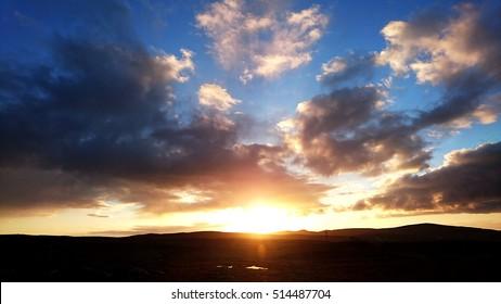 Amazing Scottish Highland Sunrise/Sunset, Golden Sky, Landscape, Scotland, United Kingdom