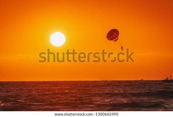 Amazing Shot Sunset Parasailing Water Amusement Stock Photo