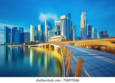 Amazing Singapore skyline at the sunrise, Singapore