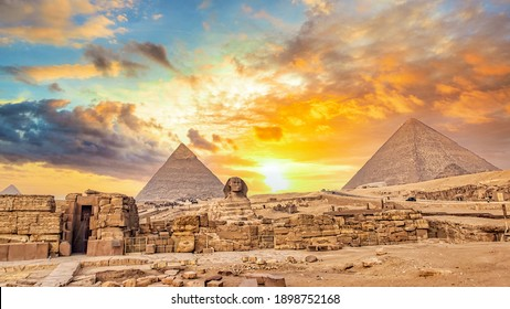 Amazing sky above The Great Pyramids of Giza in Egypt