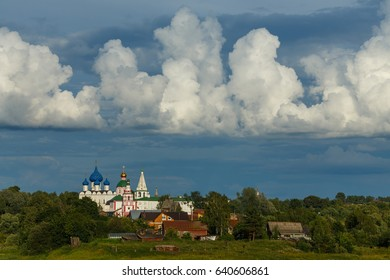 Amazing sky over Suzdal in summer. Suzdal - one of the cities of Golden ring of Russia.