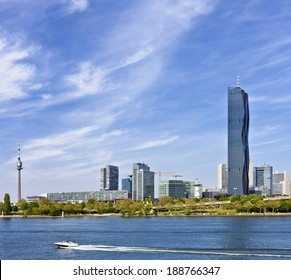 Amazing Skyline of Donau City Vienna and the brand new DC-Tower,  the tallest skyscraper in Austria.