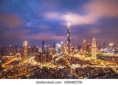 Amazing skyline of Dubai , United Arab Emirates
