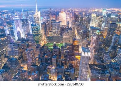 Amazing skyline of Manhattan. New York aerial view.
