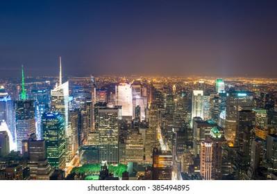 Amazing skyline of Manhattan - New York Skyscrapers.
