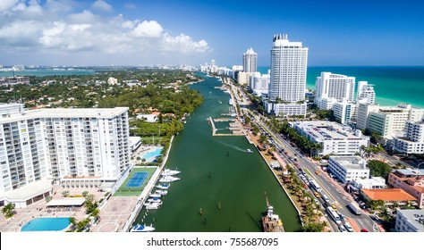 Amazing skyline of Miami South Beach, aerial view.