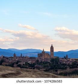 Amazing skyline of Segovia with the Cathedral of Santa Mara de Segovia, Castilla Leon, Spain.