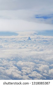 Amazing skyscape of cloudy blue sky from plane's view. Space for dreaming, desires, thoughts, new prospects and future. Airtransport for travel, tourism and business.