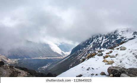 amazing snow white mountain with cloudy sky landscape Himalaya mountain at sikkim , india