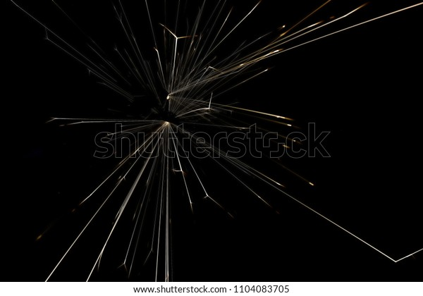 amazing Sparks caused by anode and negative touch. on a black background.