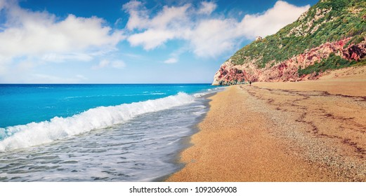 Amazing spring view of Milos Beach. Fantastic morning seascape of Ionian sea. Bright outdoor scene of Lefkada Island, Greece, Europe. Beauty of nature concept background.
