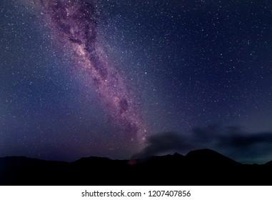 Amazing Star Night - night scene milky way over mountain background.