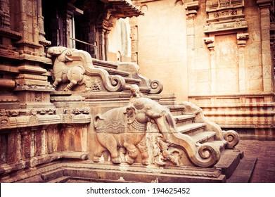 Amazing stone bas relief on stepladder of main tower at Hindu Brihadishvara Temple. South India, Tamil Nadu, Thanjavur (Trichy)