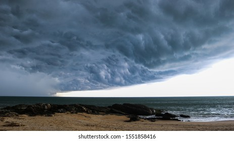 Amazing storm coming to the beach of Sri Lanka