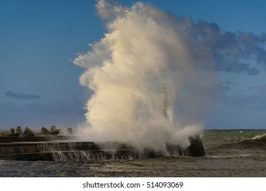 Amazing stormy wave in port of Darlowo. Poland. Europe.