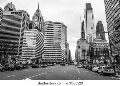 Amazing street view in the city center of Philadelphia - PHILADELPHIA / PENNSYLVANIA - APRIL 6, 2017