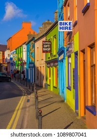 Amazing street view in Dingle - beautiful colored houses - KERRY / IRELAND - MAY 6, 2018