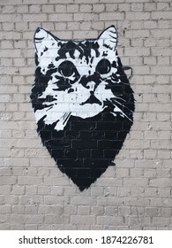An amazing streetart masterpiece of a black and white cat in Melbourne