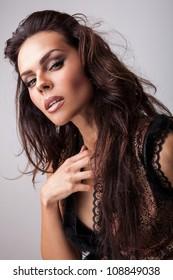 Amazing studio portrait of beautiful woman.