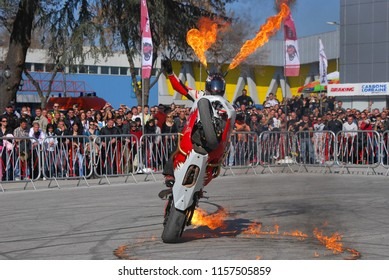 Amazing stunt demonstrations with fire on motor show festival - Plovdiv, Bulgaria - 20.03.2009