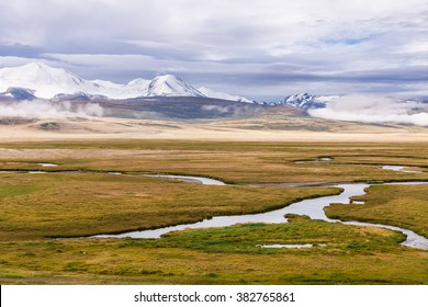 Amazing summer landscape with snowy  mountains and winding river. Plateau Ukok. Altai