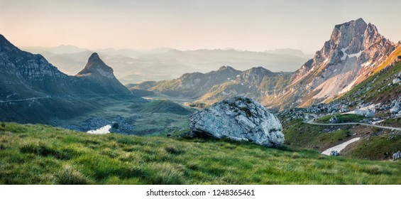 Amazing summer view from Sedlo pass. Picturesque morning scene of Durmitor National Prk, Montenegro, Europe. Beautiful world of Mediterranean countries. Instagram filter toned.