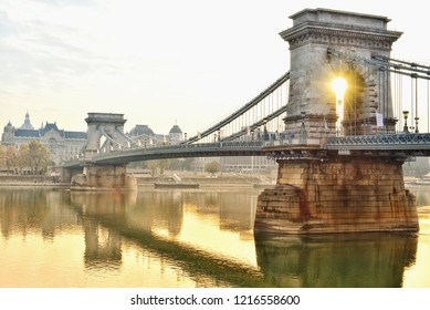 Amazing sun rise view at the Chain bridge in the morning, Budapest Hungary
