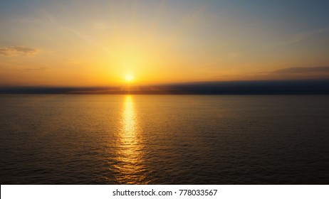 Amazing sundown on opened sea